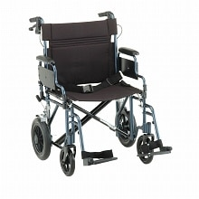 22 inch Transport Chair with 12 inch Rear Wheels in Blue22 inch, Blue