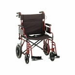 Nova 22 inch Transport Chair with 12 inch Rear Wheels in Red 22 inch Red