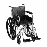 Nova 16 inch Steel Wheelchair Standard with Fixed Full Arms and Swing Away Footrests-16 inch