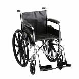 18 inch Steel Wheelchair Standard with Fixed Full Arms and Swing Away Footrests-18 inch