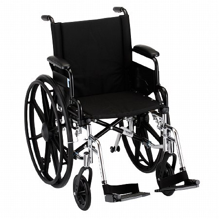 Nova Wheelchair Lightweight, Flip Back Detach Arm Swing Away Footrest 18 inch