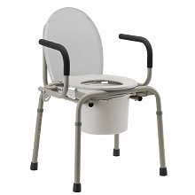 Nova Drop Arm Commode Gray