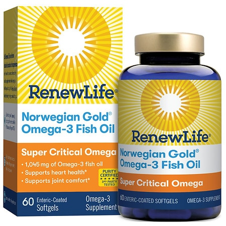 ReNew Life Norwegian Gold Super Critical Omega, Ultimate Fish Oils, Gels Orange