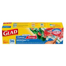 Glad 2-In-1 Zipper Clear Bags Gallon