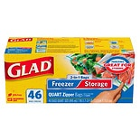Glad 2-In-1 Zipper Clear Bags Quart