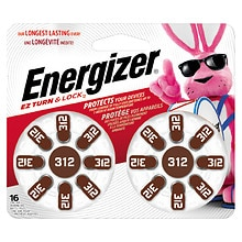 Energizer EZTurn & Lock Hearing Aid Battery Size 312