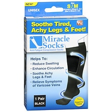 Miracle Socks Anti-Fatigue Compression Socks, Unisex Small/Medium Black