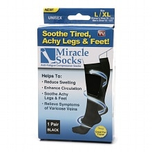 Miracle Socks Anti-Fatigue Compression Socks, Unisex Large/X Large Black