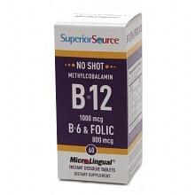 Superior Source No Shot Methylcobalamin B12/B6/Folic Acid 800mcg, Dissolve Tablets