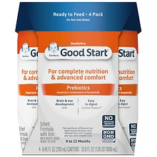 Gerber Good Start Gentle, Infant Formula, Ready to Feed, Birth+ 8.45 fl oz Tetra Packs