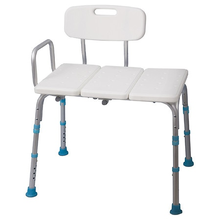 AquaSense Adjustable Bath and Shower Transfer Bench with Reversible Backrest