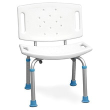AquaSense Adjustable Bath & Shower Chair with Non-Slip Seat & Backrest White