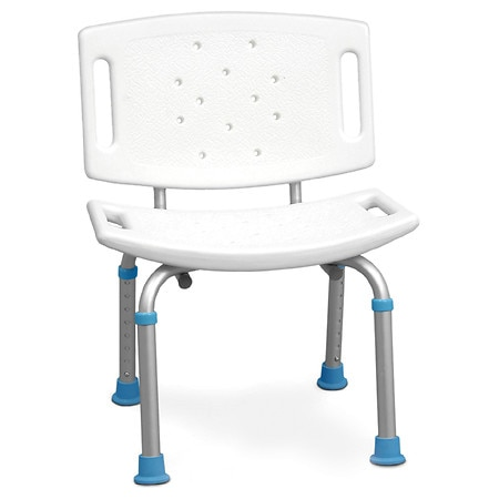 AquaSense Adjustable Bath Chair with Non-Slip Seat & Backrest White