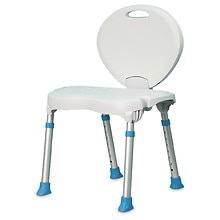 AquaSense Folding Bath and Shower Chair with Non-Slip Seat and Backrest White