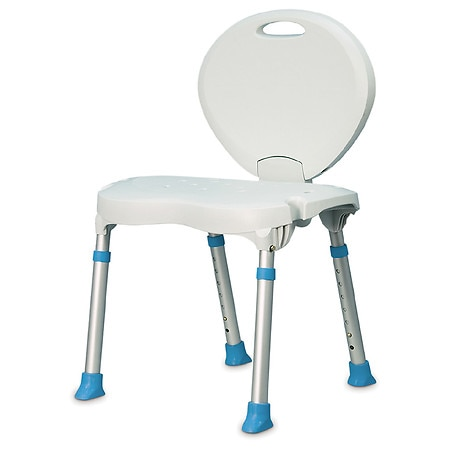 AquaSense Folding Bath Chair with with Non-Slip Seat and Backrest White