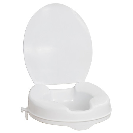 AquaSense Raised Toilet Seat with Lid, White, 2 Inch White