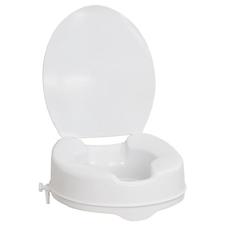 AquaSense Raised Toilet Seat with Lid, White, 4 Inch White