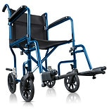 Hugo Portable Lightweight Transport Wheelchair with Detachable Footrests Midnight Blue