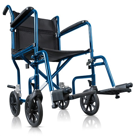 Hugo Portable Lightweight Transport Wheelchair with Detachable Footrests Black