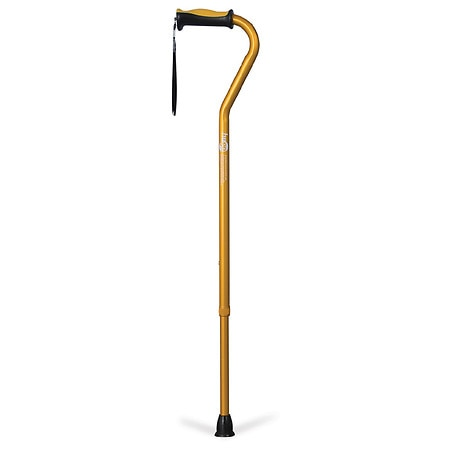 Hugo Adjustable Offset Handle Cane with Reflective Strap Amber
