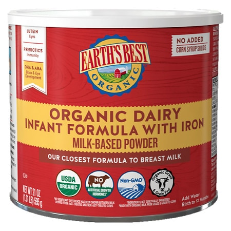 Earth's Best Organic Milk-Based Infant Formula Powder with Iron makes approx. 170 oz