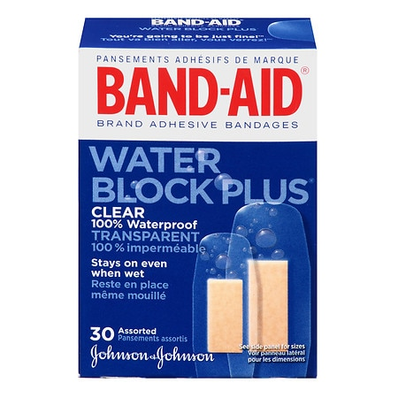 Band-Aid Water Block Plus Adhesive Bandages, Clear Assorted
