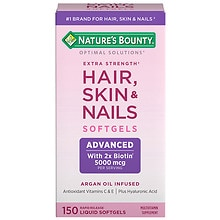 Nature's Bounty Optimal Solutions Extra Strength Hair Skin and Nails 5000 mcg of Biotin, Caplets