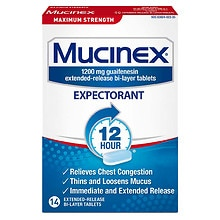 Mucinex Maximum Strength 12 Hour Expectorant, Extended-Release Bi-Layer Tablets, 1200 mg