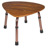 Drive Medical Adjustable Height Teak Bath Bench Stool-Triangle