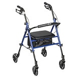 Drive Medical Adjustable Height Rollator 6 Inch Wheels Blue