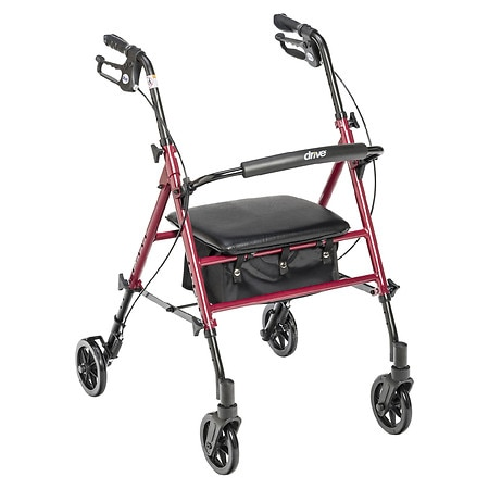 Drive Medical Adjustable Height Rollator 6 Inch Wleehs Red