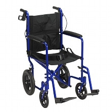Drive Medical Lightweight Expedition Transport Wheelchair with Hand Brakes Blue