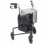Drive Medical 3 Wheel Rollator Walker with Basket Tray and Pouch 8 inch Wheels Red