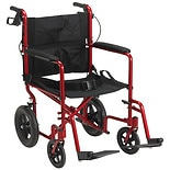 Drive Medical Lightweight Expedition Transport Wheelchair with Hand Brakes 19 Inch Red