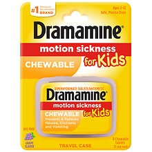 Dramamine Motion Sickness Relief for Kids Chewable Tablets Grape Flavor