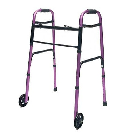 Lumex Adult Folding Walker with Wheels Plum