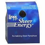 L'eggs Sheer Energy Control Top Reinforced Toe Pantyhose B Jet Black