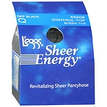 L'eggs Sheer Energy Control Top Sheer Toe Hosiery Size QQ Off Black