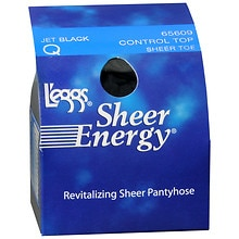 L'eggs Sheer Energy Revitalizing Control Top Reinforced Toe Q Jet Black