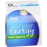 L'eggs Sheer Energy Control Top Medium Support Leg Hosiery Size Q Q Off White