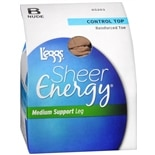 L'eggs Sheer Energy Control Top Reinforced Toe Medium Support Leg Pantyhose Medium