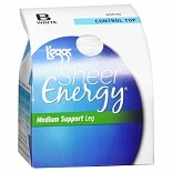 L'eggs Sheer Energy Revitalizing Control Top Sheer Toe, White      Size B