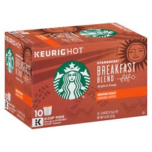 Starbucks Coffee Medium Ground Coffee K-Cups 10 Pack Breakfast Blend