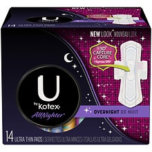 U by Kotex Cleanwear Ultra Thin Pads Flexible Shape Overnight, 14 ea