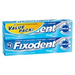 Fixodent Denture Adhesive Cream Free, Value Pack