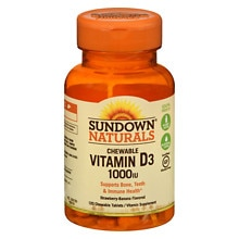 Chewable Vitamin D3 1000 IU, Tablets Strawberry-Banana