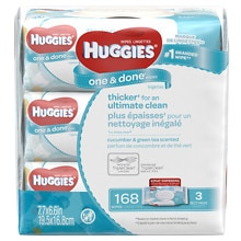 Huggies One & Done Baby Wipes, 3 Soft Packs Cucumber & Green Tea