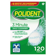 Polident 3 Minute Antibacterial Denture Cleanser Tablets Triple Mint