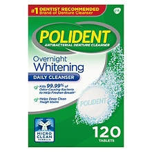 Polident Overnight Whitening, Antibacterial Denture Cleanser Triple Mint Freshness