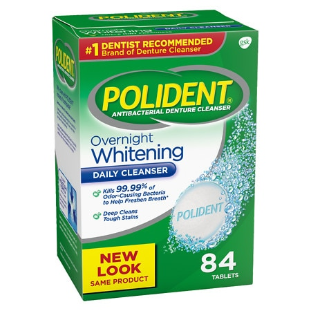 Polident Overnight Whitening Antibacterial Denture Cleanser Tablets Triple Mint Freshness